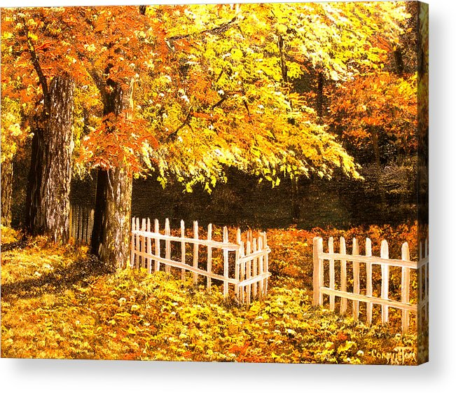 Connie Tom Acrylic Print featuring the painting The Picket Fence by Connie Tom