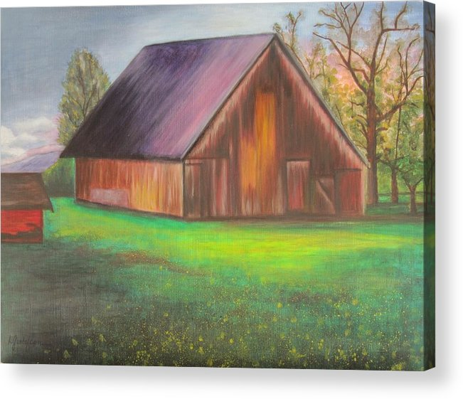 Oil Acrylic Print featuring the painting The Ranch by Leslie Gustafson