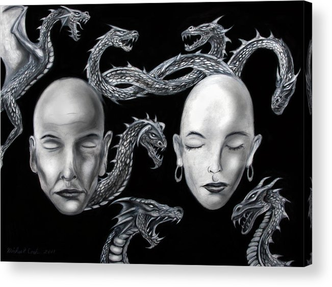 Dragons Acrylic Print featuring the drawing The Rise Of Conflict by Michael Cook