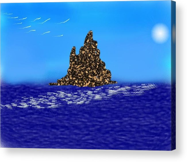 Sky.moon.birds.island.sea.reflection Moon On Water.rest.silence. Acrylic Print featuring the digital art The Solitude by Dr Loifer Vladimir