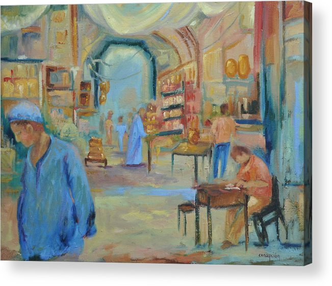 Figurative Acrylic Print featuring the painting The Souk by Ginger Concepcion