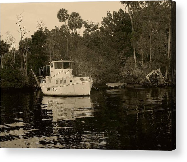 Boat Acrylic Print featuring the painting The Spray Can Sepia by Debbie May