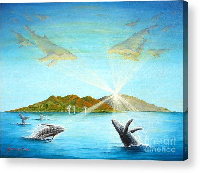 Whales Acrylic Print featuring the painting The Whales Of Maui by Jerome Stumphauzer