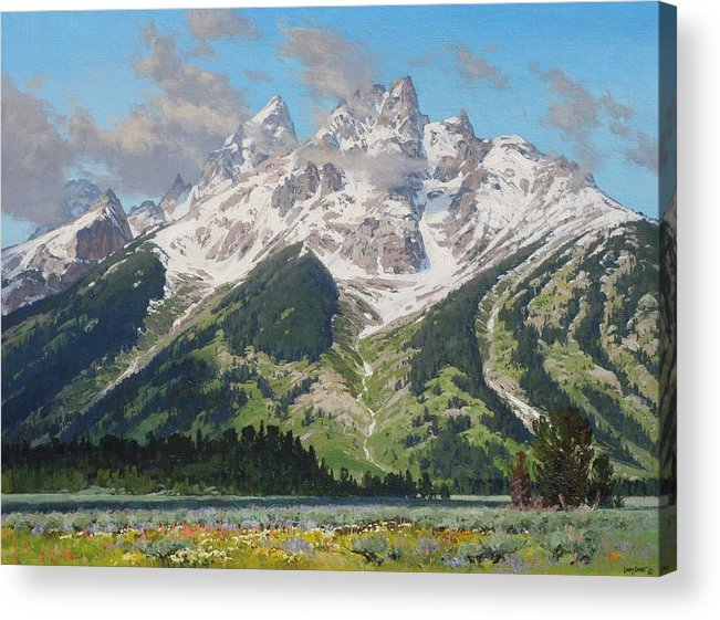 Landscape Acrylic Print featuring the painting Timbered Island by Lanny Grant