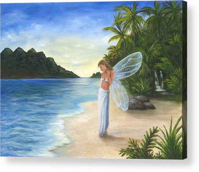 Fairy Acrylic Print featuring the painting Tropical Fairy by Anne Kushnick