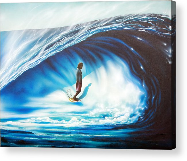 Surf Acrylic Print featuring the painting Tube Time by Ronnie Jackson