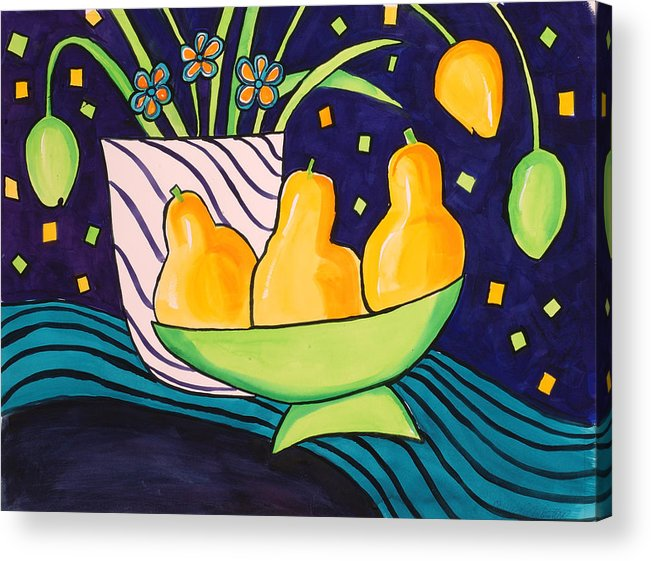 Painting Acrylic Print featuring the painting Tulips And 3 Yellow Pears by Carrie Allbritton