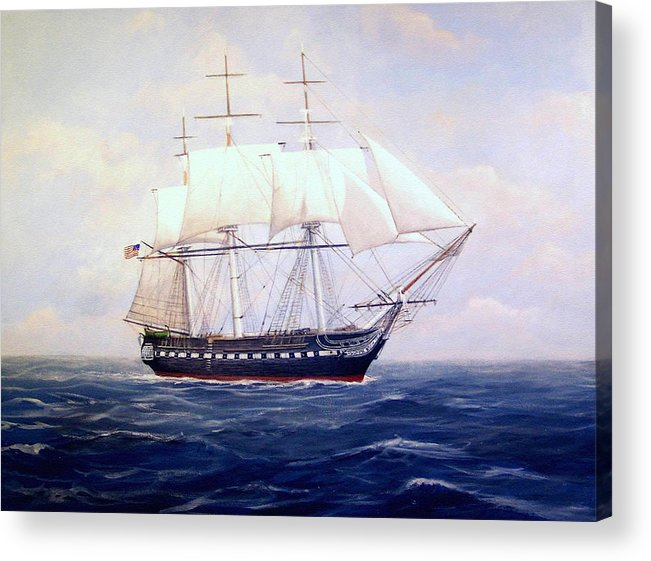 Marine Art Acrylic Print featuring the painting Uss Constitution by William H RaVell III