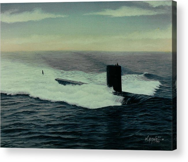 Submarine Acrylic Print featuring the painting Uss Topeka by William H RaVell III