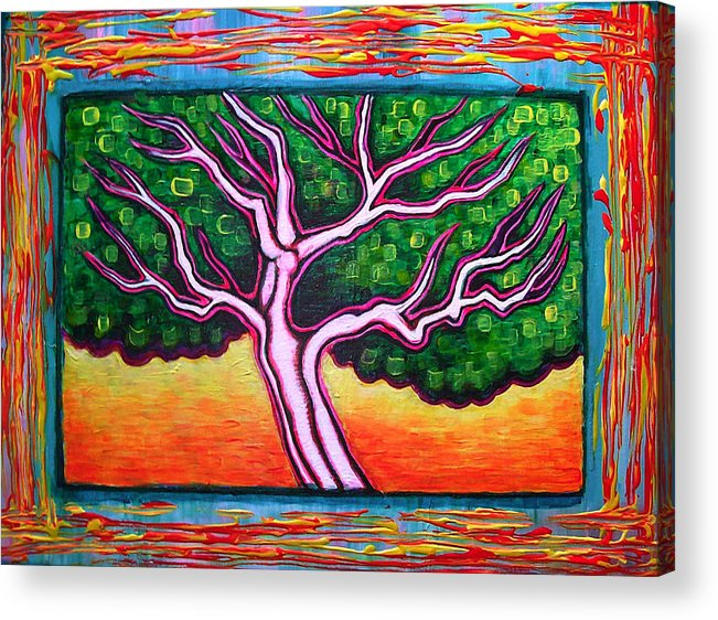 Tree Acrylic Print featuring the painting View From A Window by Brenda Higginson