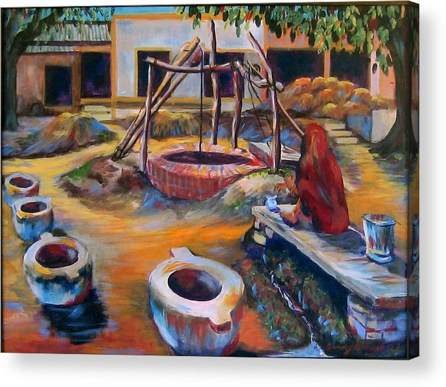 Village Acrylic Print featuring the painting Village Well by Art Nomad Sandra Hansen
