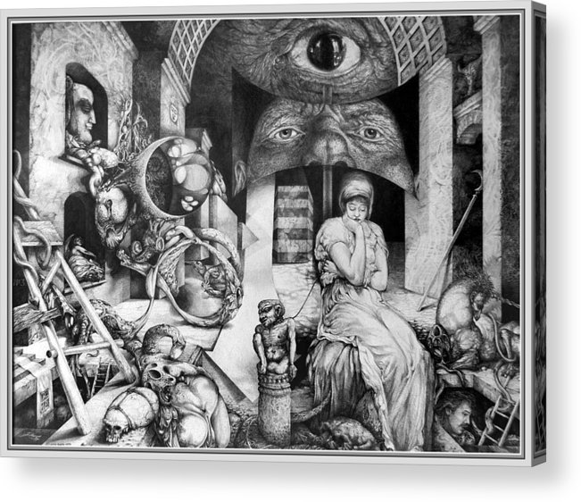 Surrealism Acrylic Print featuring the drawing Vindobona Altarpiece IIi - Snakes And Ladders by Otto Rapp