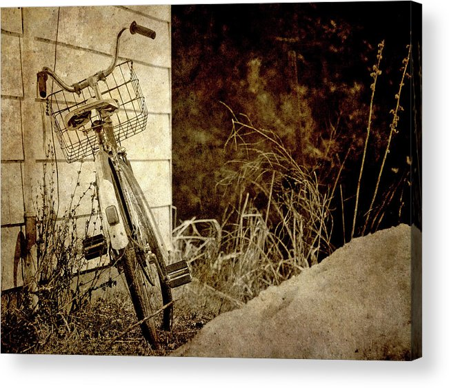 Abstract Acrylic Print featuring the photograph Vintage Bicycle In Winter. by Kelly Nelson