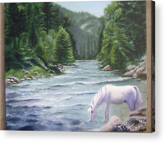 Landscape Acrylic Print featuring the painting Virgin River by KC Knight