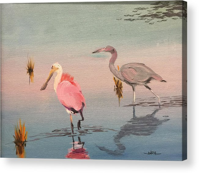 Wading Birds Acrylic Print featuring the painting Wade Fishing The Laguna by Jeffrey Neel McDaniell