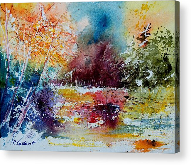 Pond Acrylic Print featuring the painting Watercolor 140908 by Pol Ledent