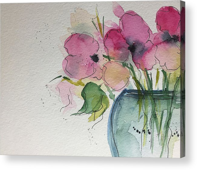 Watercolor pink flowers in the vase acrylic print by britta zehm pink flowers acrylic print featuring the painting watercolor pink flowers in the vase by britta zehm mightylinksfo
