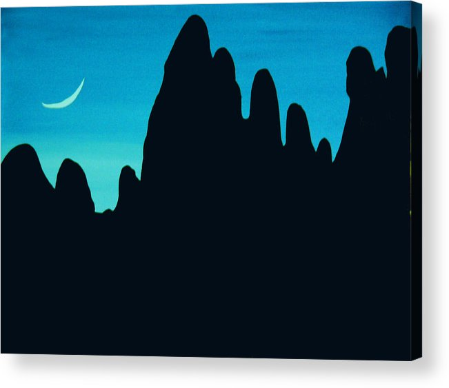 24 Inch Night Landscape Acrylic Print featuring the painting West by Linda Powell