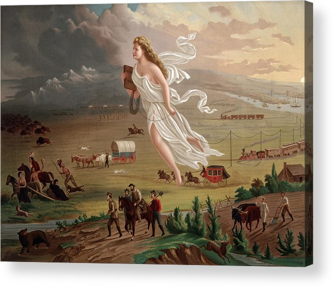 1870s Acrylic Print featuring the photograph Westward Ho Allegorical Female Figure by Everett