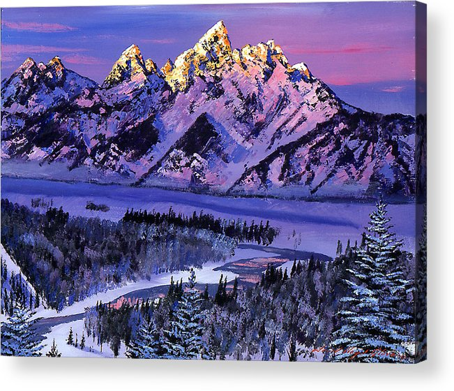 Mountains Acrylic Print featuring the painting Winter Air by David Lloyd Glover
