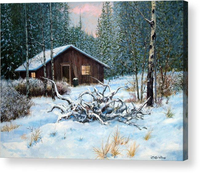 Winter Landscape Acrylic Print featuring the painting Winter Cabin by E Colin Williams ARCA