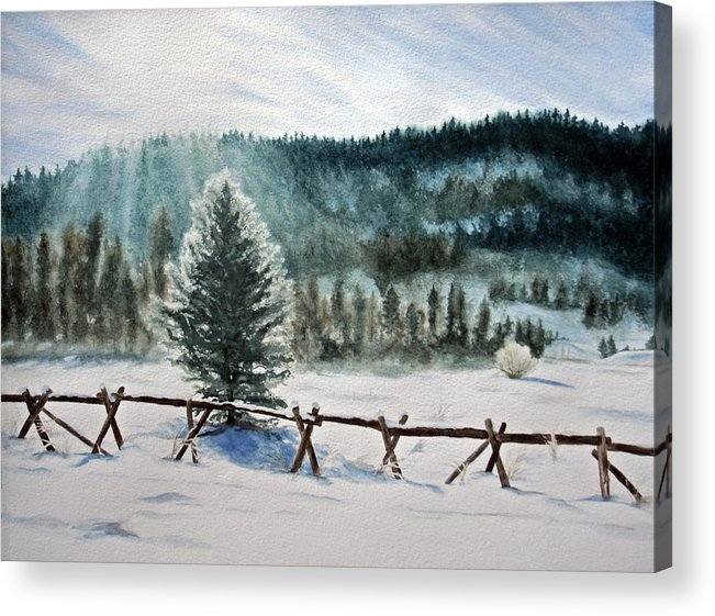 Landscape Acrylic Print featuring the painting Winter Glow by Monika Degan