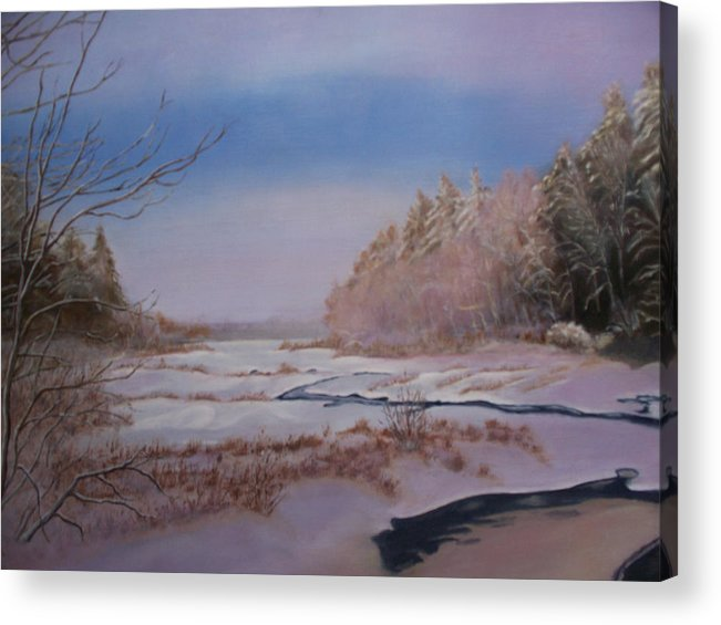 Acrylic Print featuring the painting Winter On The Pond by Ron Hamilton