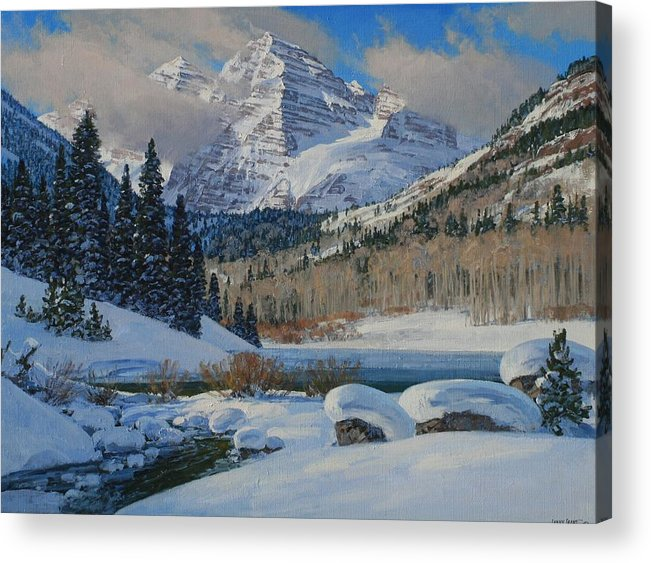 Landscape Acrylic Print featuring the painting Winter Willows by Lanny Grant