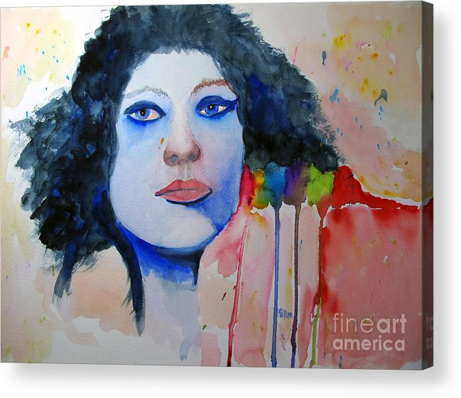 Woman Acrylic Print featuring the painting Woman In Blue by Sandy McIntire