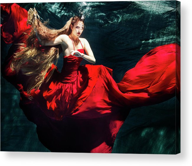 Ballet Dancer Acrylic Print featuring the photograph Female Dancer Performing Under Water by Henrik Sorensen
