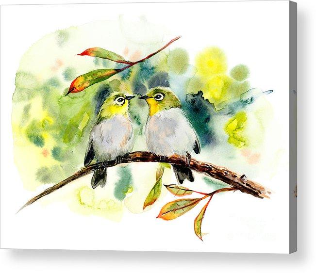 Small Acrylic Print featuring the digital art Couple Of Little Green Birdies by Marya Kutuzova
