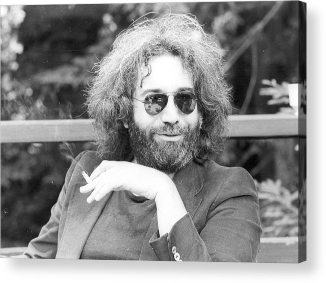 Black And White Acrylic Print featuring the photograph Photo Of Jerry Garcia by Michael Ochs Archives