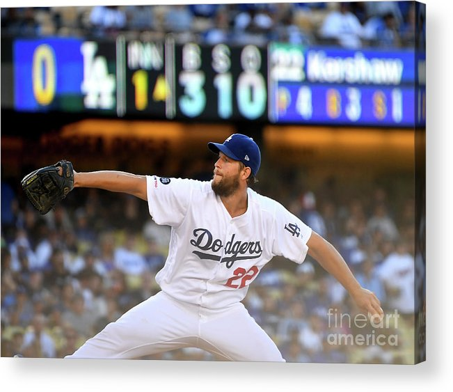 Three Quarter Length Acrylic Print featuring the photograph Clayton Kershaw by Jayne Kamin-oncea
