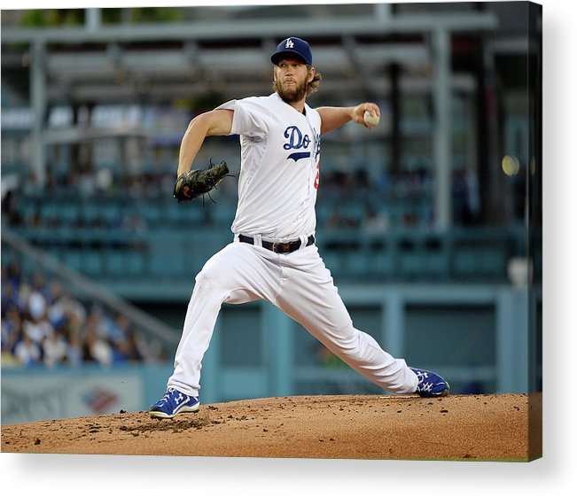 People Acrylic Print featuring the photograph Clayton Kershaw by Kevork Djansezian
