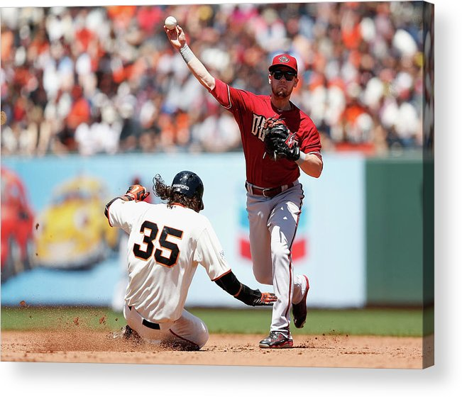 San Francisco Acrylic Print featuring the photograph Brandon Crawford And Chris Owings by Lachlan Cunningham