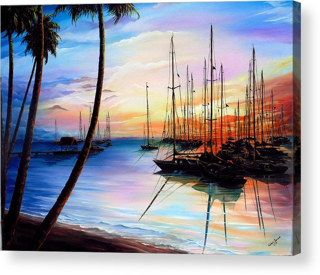 Ocean Painting Seascape Yacht Painting Sailboat Painting Sunset Painting Tropical Painting Caribbean Painting Yacht Painting At The End Of A Yachting Regatta At Pigeon Point Tobago Painting Acrylic Print featuring the painting Days End Yachting Regatta At Pigeon Point Tobago by Karin Dawn Kelshall- Best