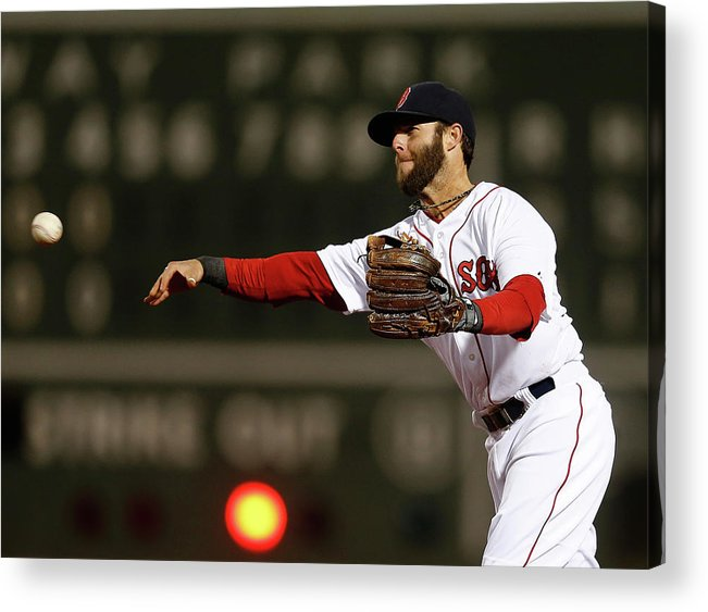 American League Baseball Acrylic Print featuring the photograph Dustin Pedroia And Adam Jones by Jim Rogash