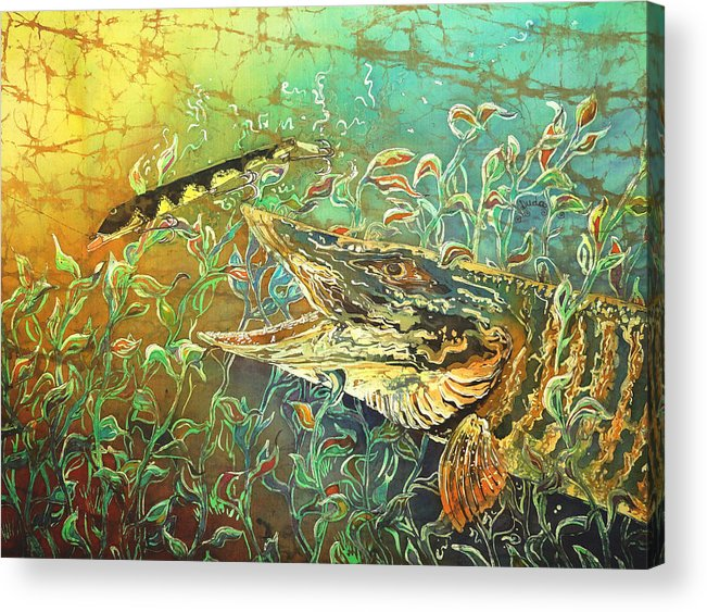 Musky Acrylic Print featuring the painting Musky On The Run by Sue Duda