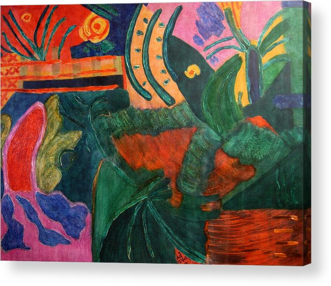 Abstract/landscape; Ink On Stretched Canvas Acrylic Print featuring the painting No.321. by Vijayan Kannampilly