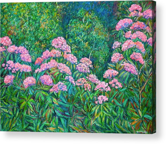 Floral Acrylic Print featuring the painting Rhododendron Near Black Rock Hill by Kendall Kessler