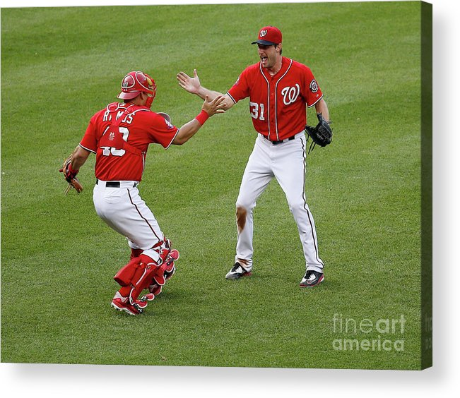 Baseball Catcher Acrylic Print featuring the photograph Wilson Ramos And Max Scherzer by Rob Carr