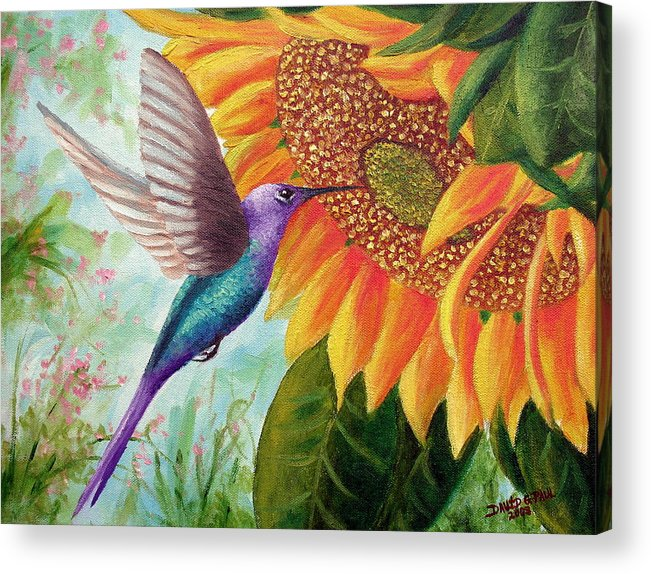 Hummingbird Acrylic Print featuring the painting Humming For Nectar by David G Paul