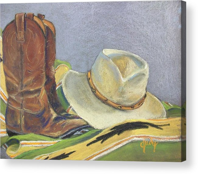 Cowboy Acrylic Print featuring the pastel Cowboy Life by Judy Pimperl