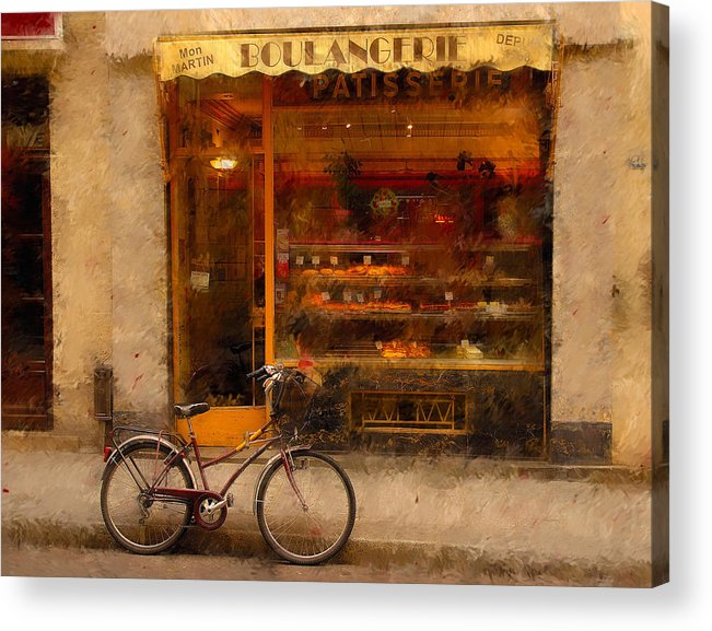 Paris France Acrylic Print featuring the photograph Boulangerie And Bike 2 by Mick Burkey