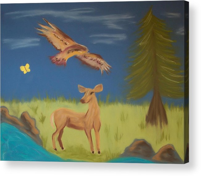 Landscape Acrylic Print featuring the pastel June Totems by Christine Crosby