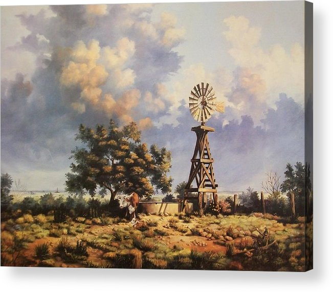 A New Mexico Landscape. Acrylic Print featuring the painting Lea County Memories by Wanda Dansereau