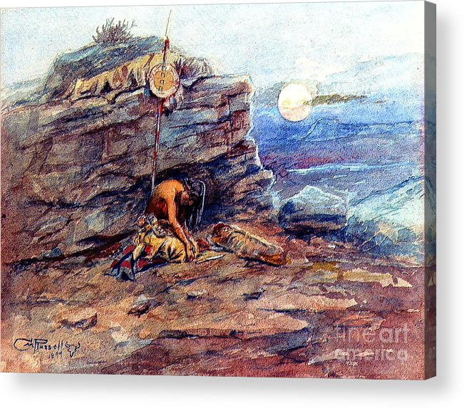 Pd Acrylic Print featuring the painting Mourning Her Warrior Dead By Charles Marion Russell by Pg Reproductions