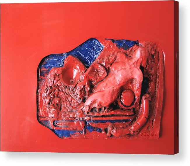 Nude Acrylic Print featuring the sculpture Red Relief by Chuck Kugler