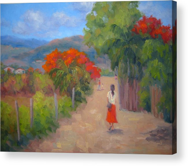 Honduras Acrylic Print featuring the painting Senorita In A Red Skirt by Bunny Oliver