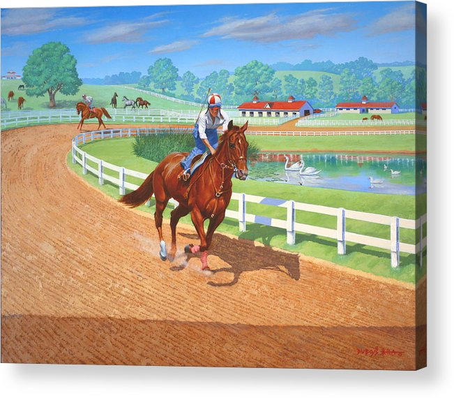 Western Artist Acrylic Print featuring the painting Spring Training by Howard Dubois